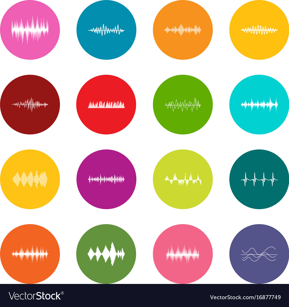 Sound wave icons many colors set