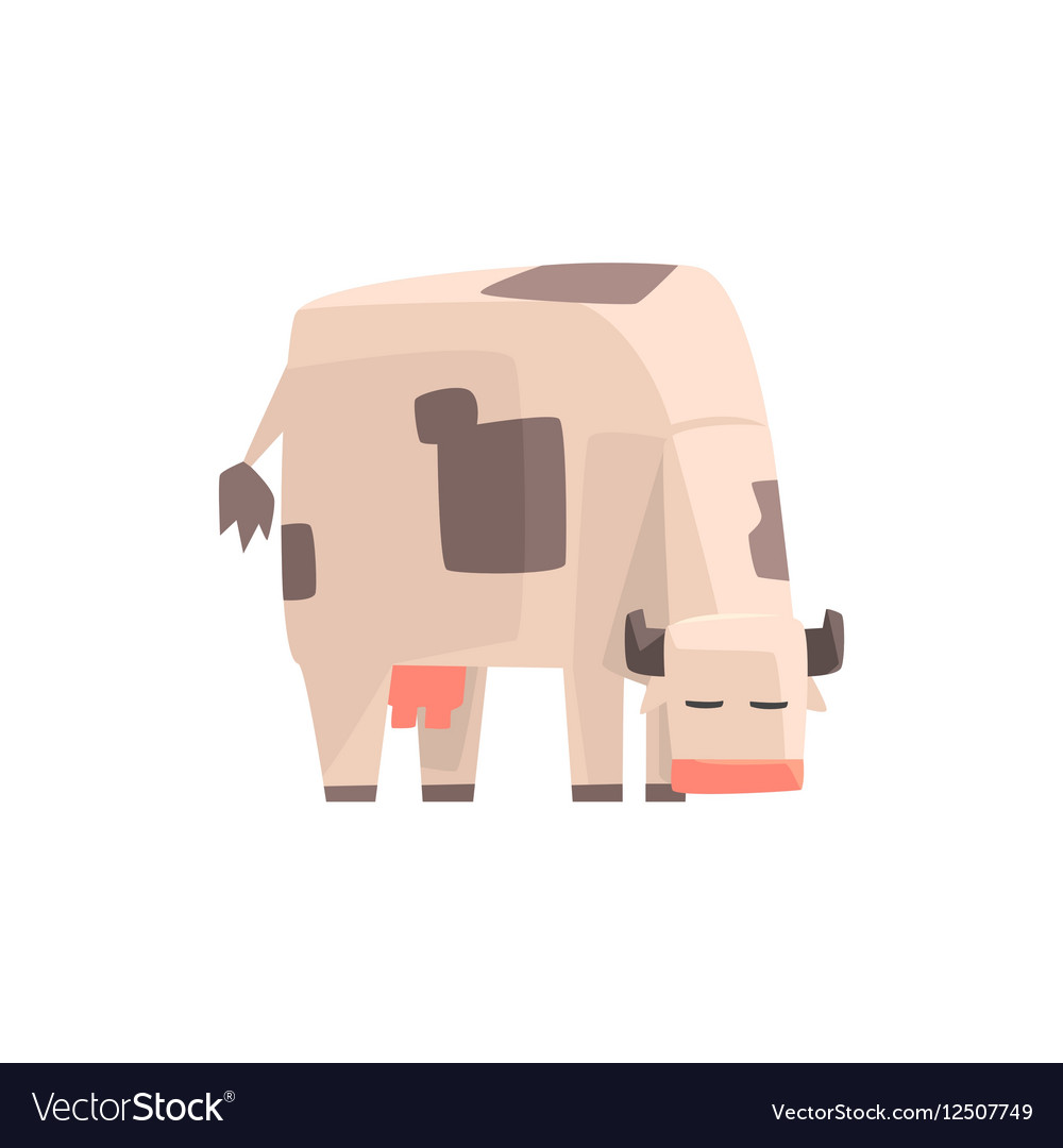 Toy Simple Geometric Farm Cow Browsing Funny vector image