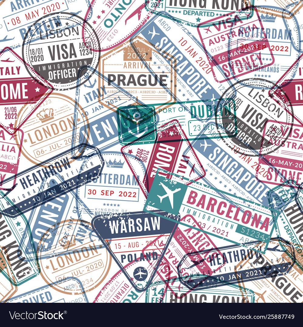 Travel stamp pattern vintage traveler passport