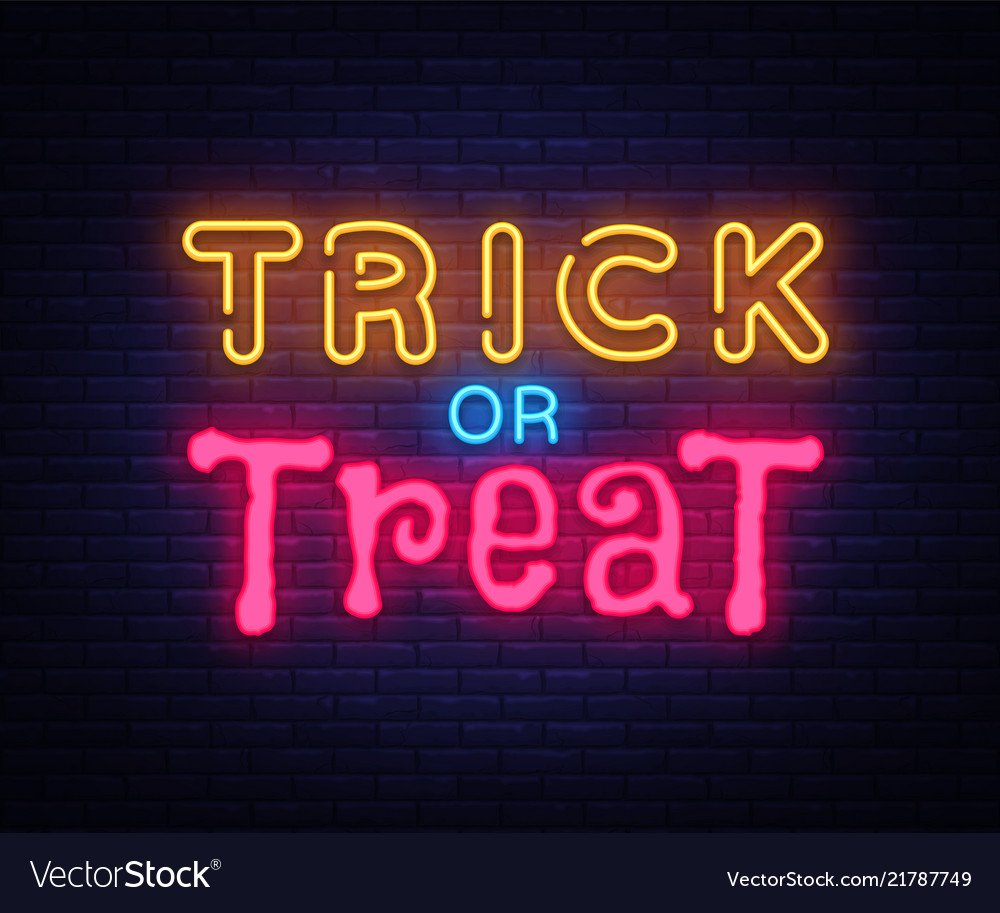 Trick or treat neon text design template