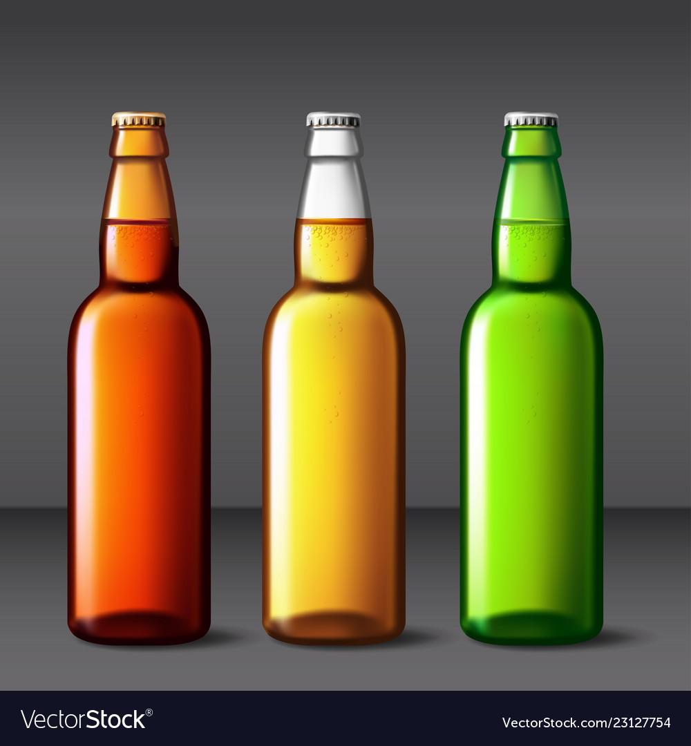 Beer bottle glass packaging mockup