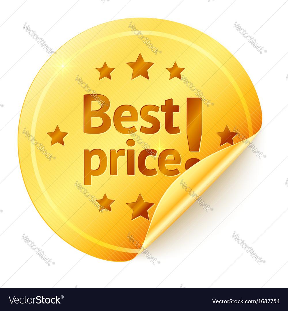 Best price isolated golden sticker