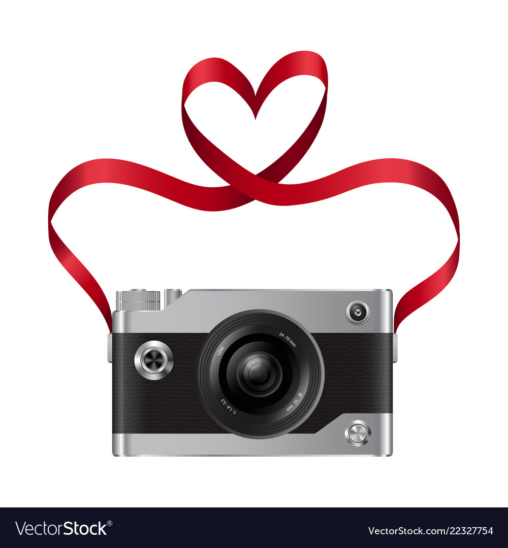 Camera And Red Ribbon With Heart Royalty Free Vector Image