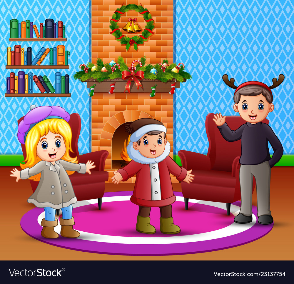 Cartoon of happy family in the living room