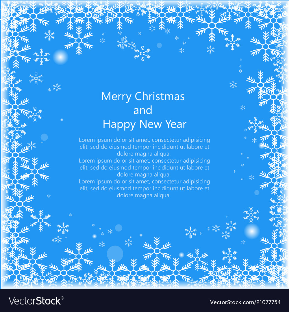 Christmas snowss frame with text isolated on blue