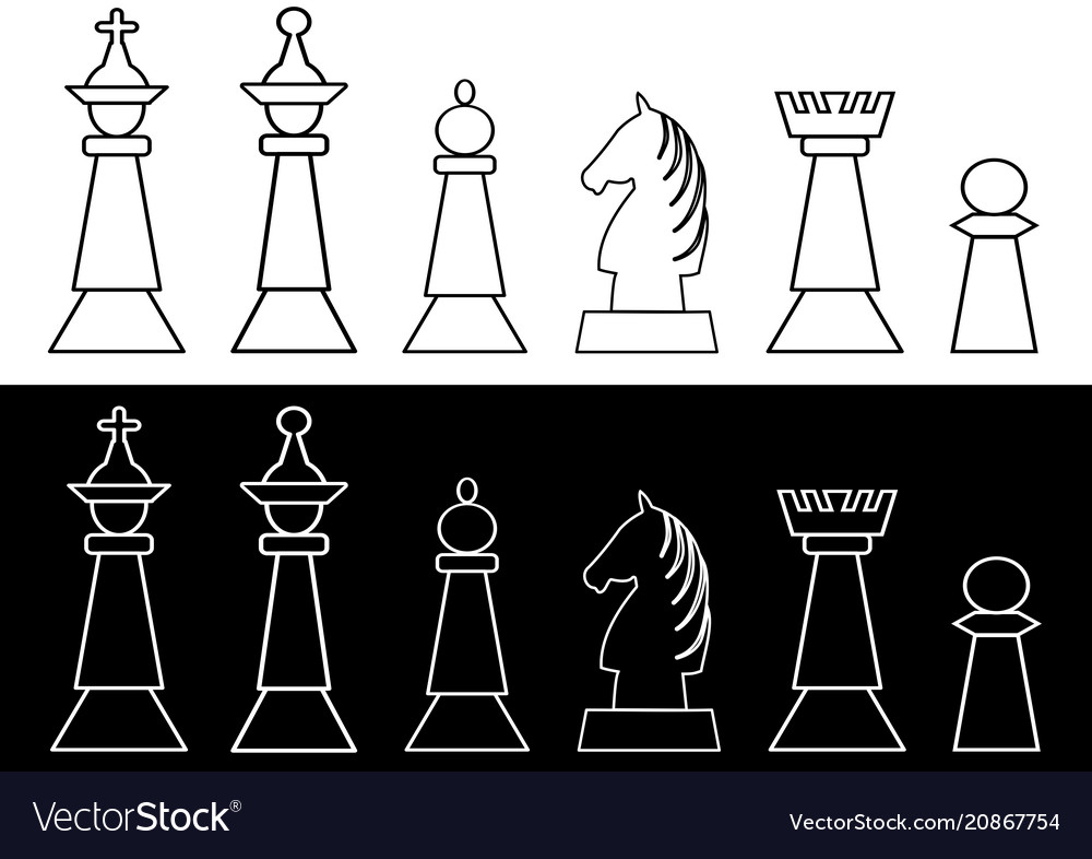 Complete set of black and white chess pieces king vector image