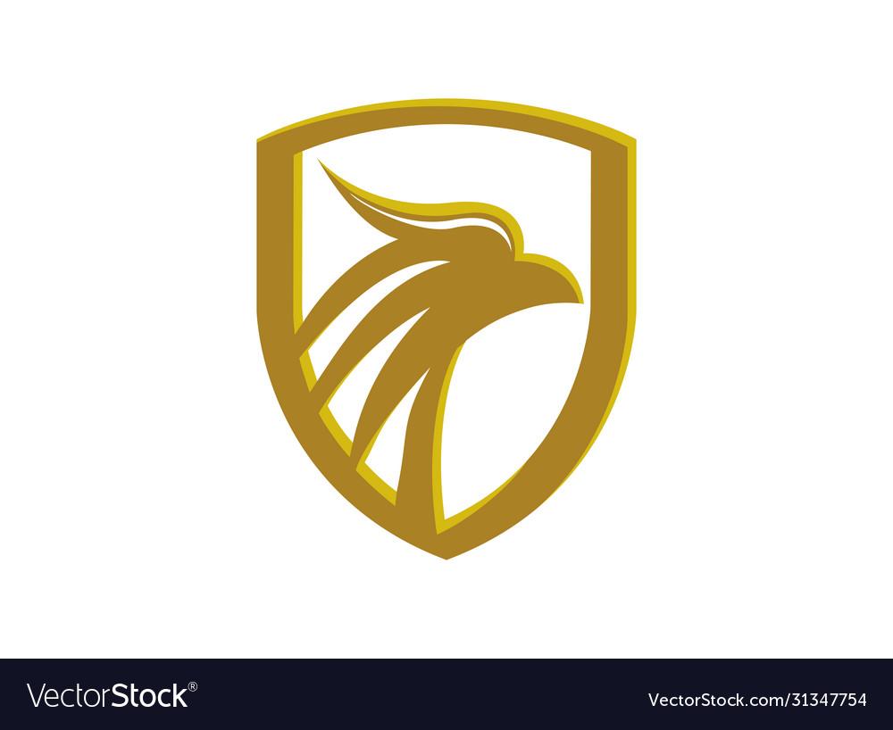 Eagle head in a golden shield luxury eagle head