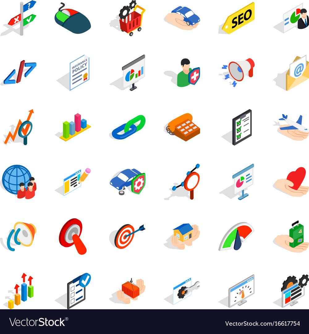 Fast career icons set isometric style