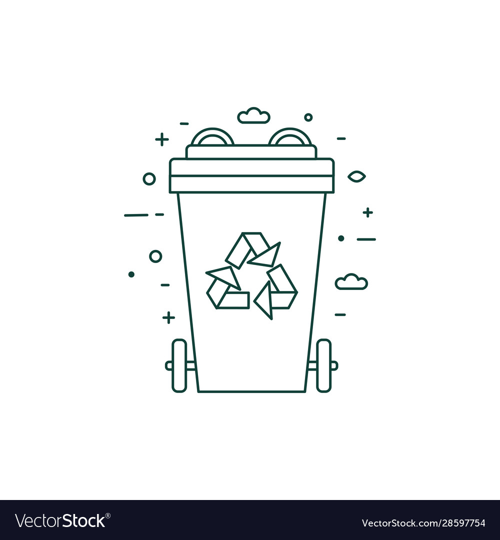 Green recycling bin with recycle line symbol