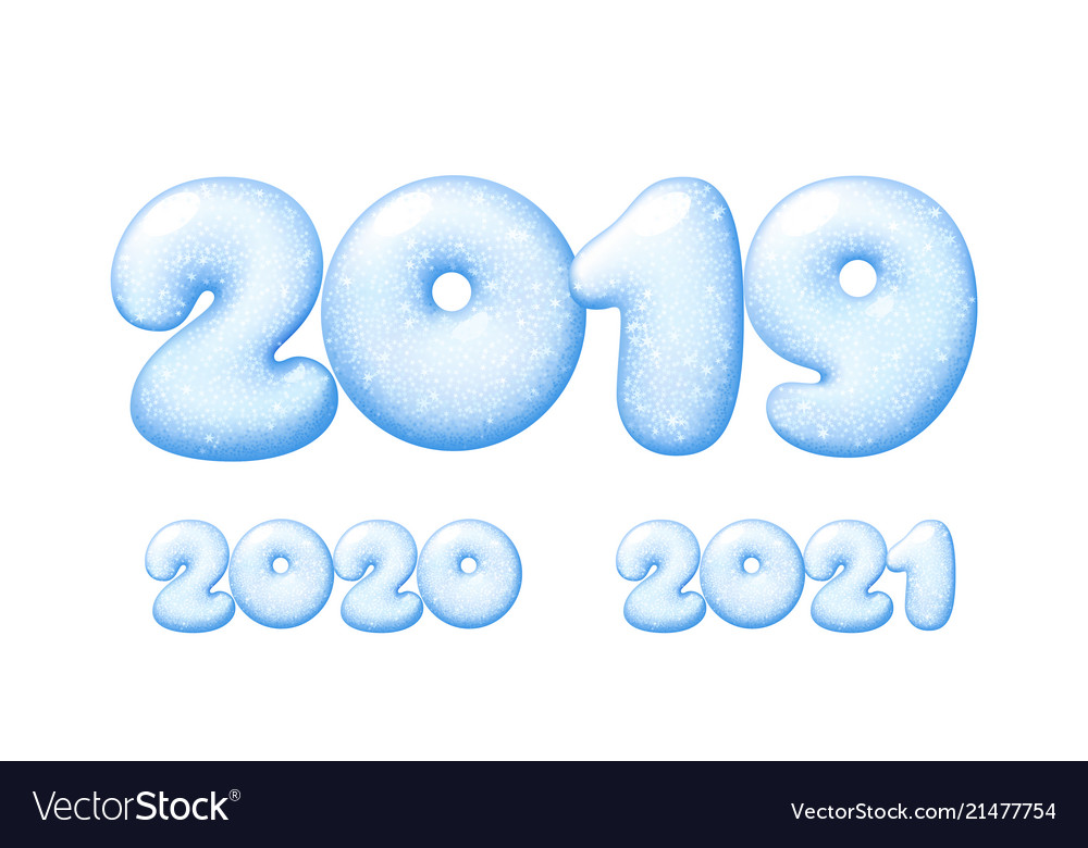 Happy new year 2019 numbers from snow or ice