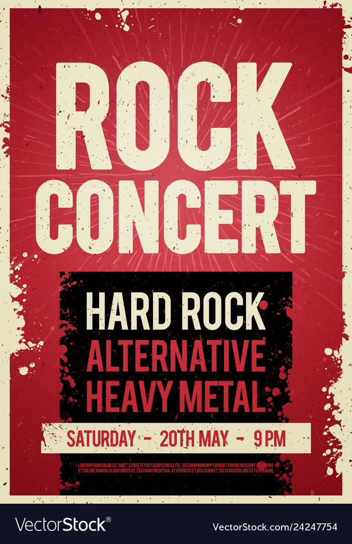 Rock concert retro poster design on old paper text