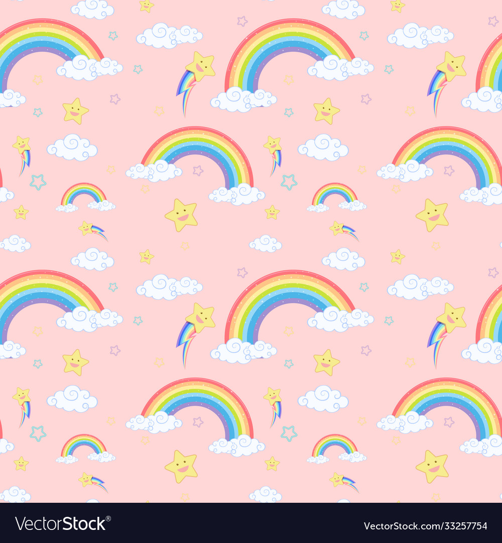 Seamless rainbow with cloud and star pattern