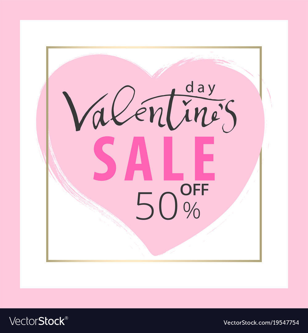 Set Of Trendy Chic Valentine S Day Sale Cards Vector Image