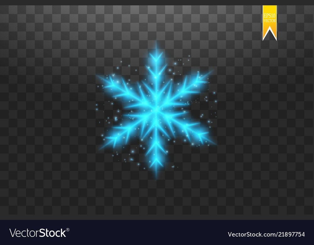 Shine blue snowflake with glitter isolated on