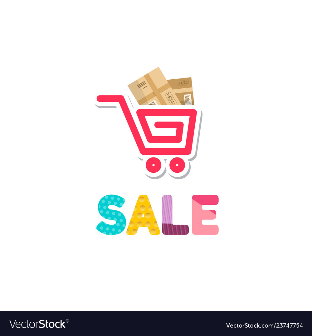 Shopping cart icon with parcels and sale symbol