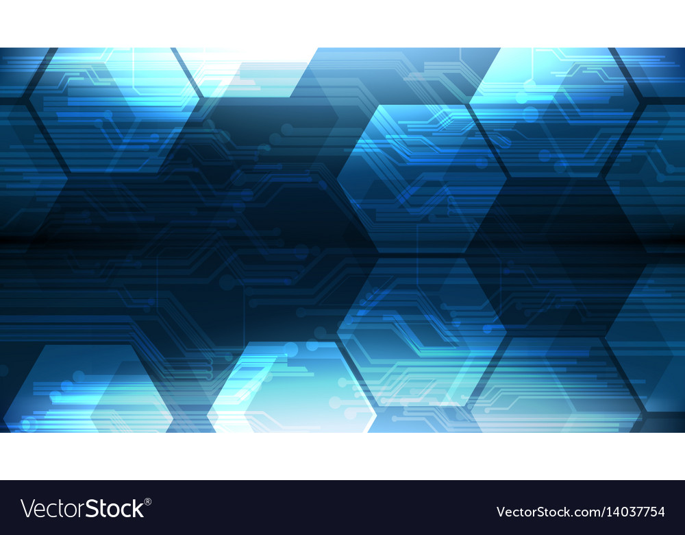 Technological hexagon interface circuit background