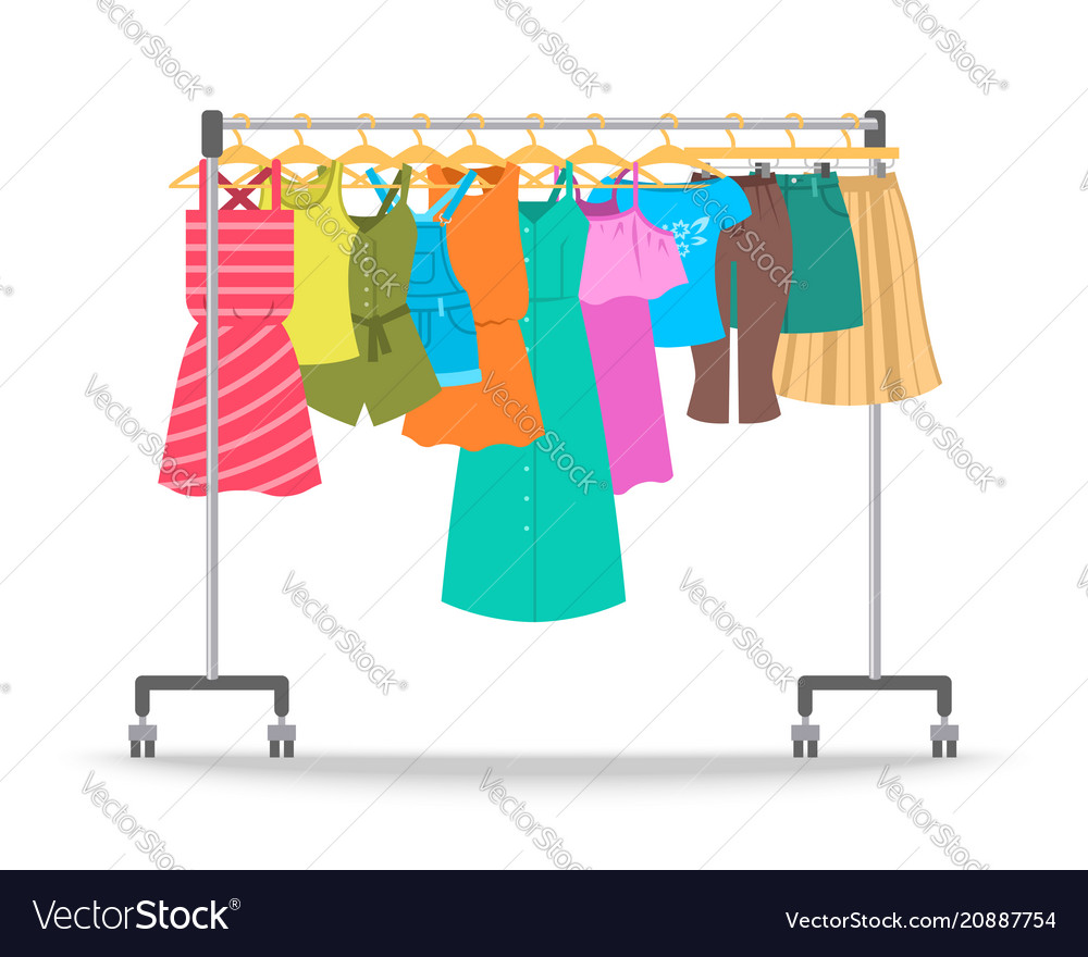 Women summer casual clothes on hanger rack