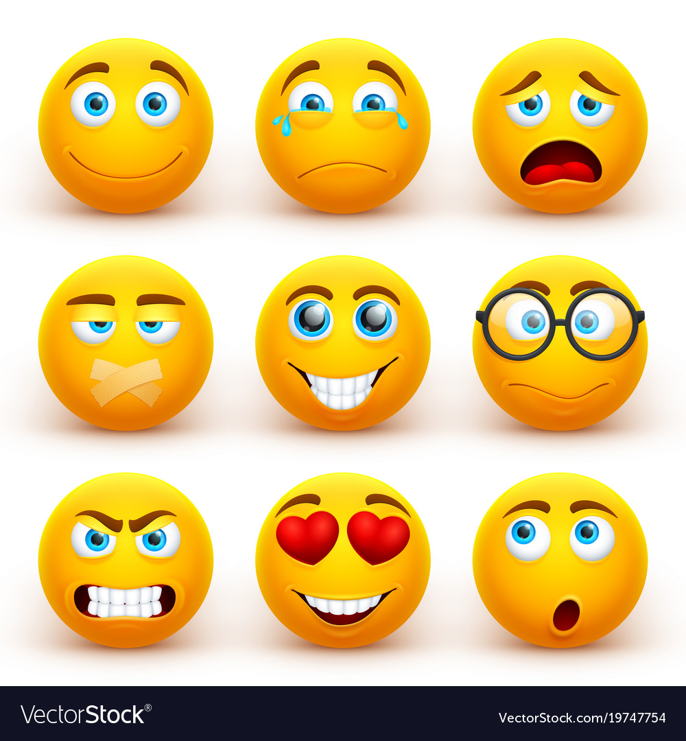 yellow 3d emoticons set funny smiley face vector image