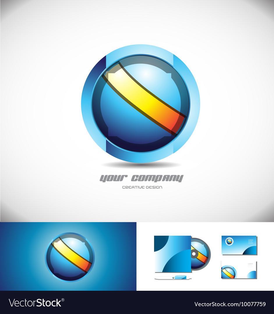 Blue orange sphere circle 3d logo design vector image