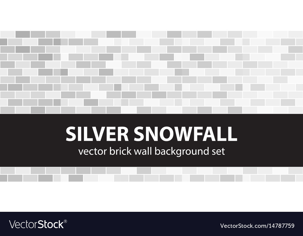 Brick pattern set silver snowfall seamless