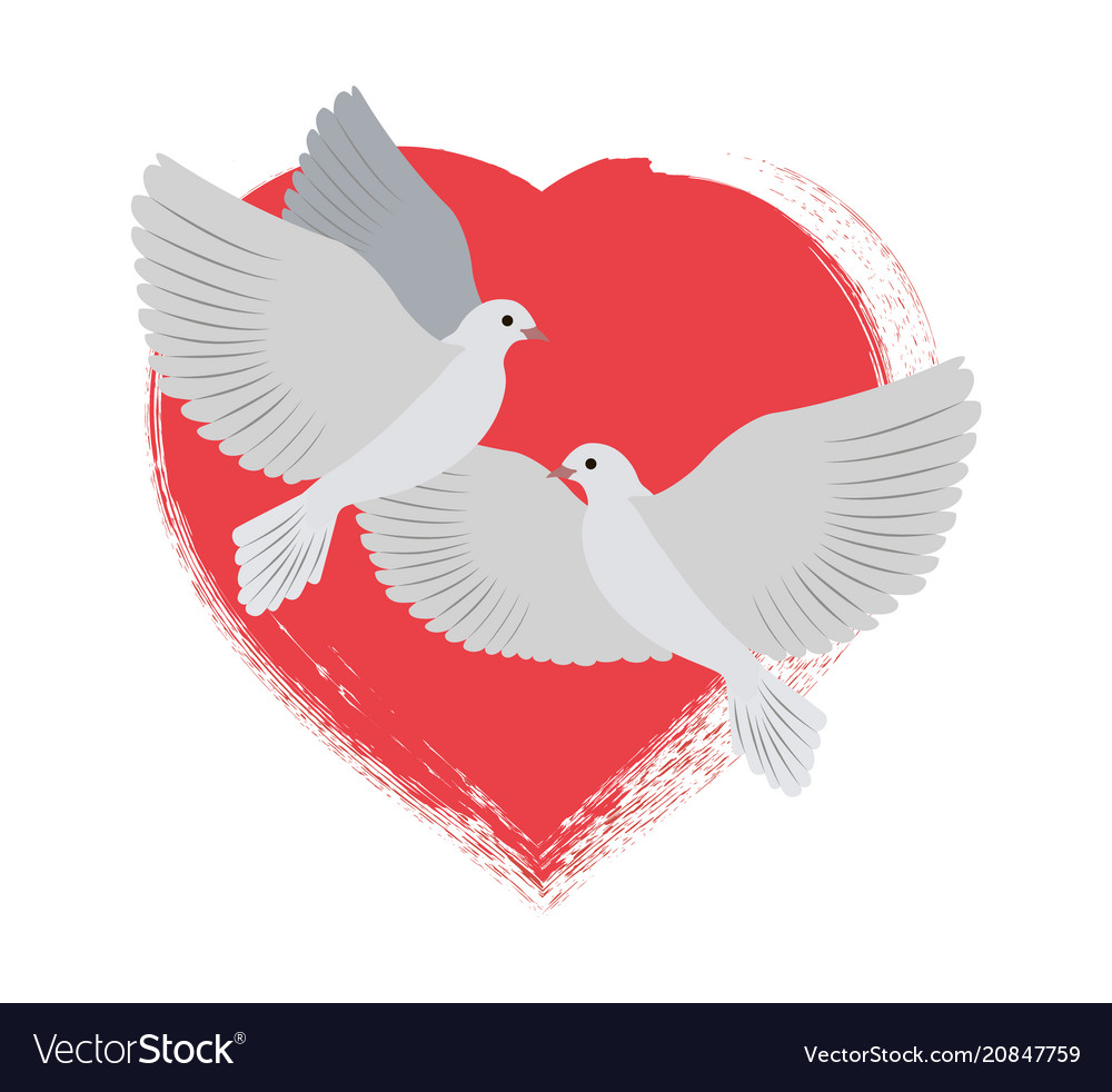 Doves flying and red heart