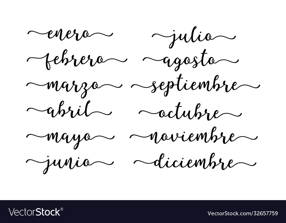 Hand lettered months year in spanish