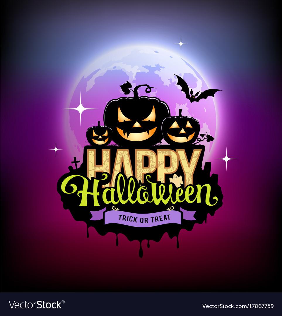Happy halloween pumpkin design on moon