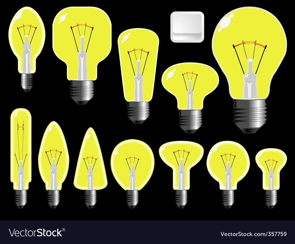 Light bulbs shapes vector image