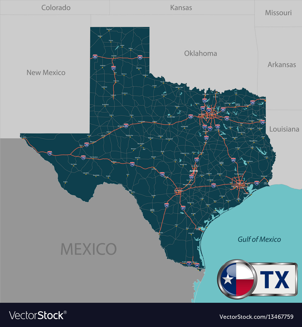Map Of Texas And Louisiana Border.Map Of State Texas Usa