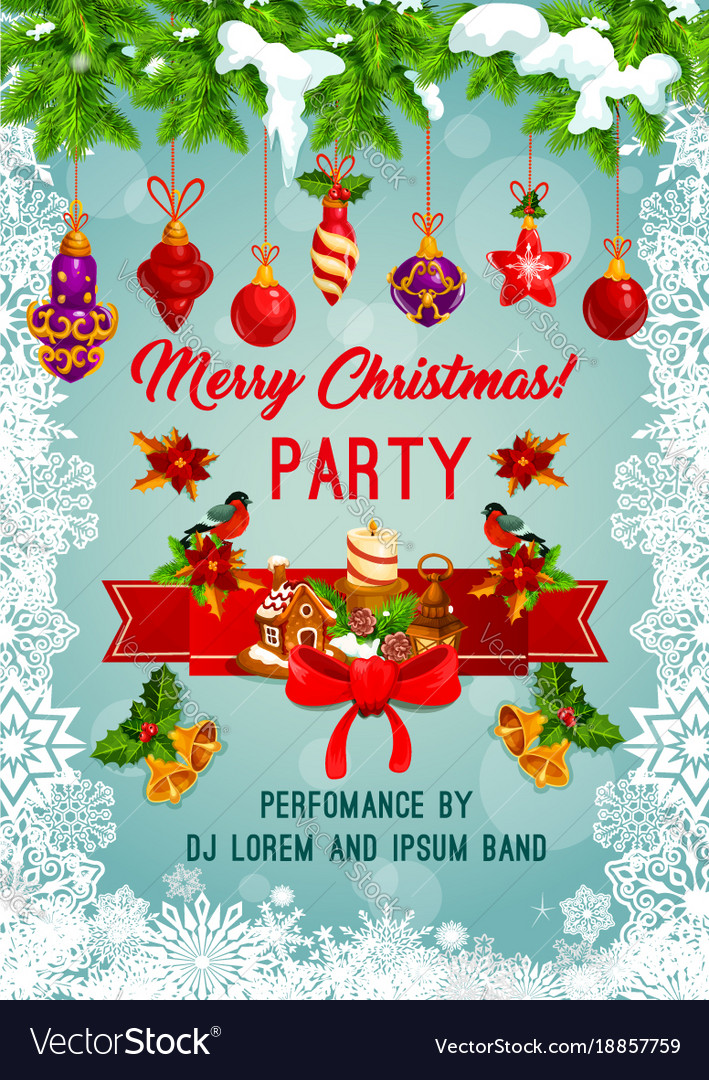 Merry christmas holiday party poster