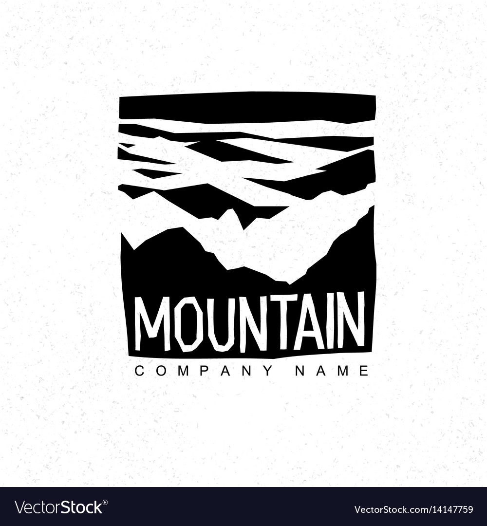Mountains logo template with abstract peaks