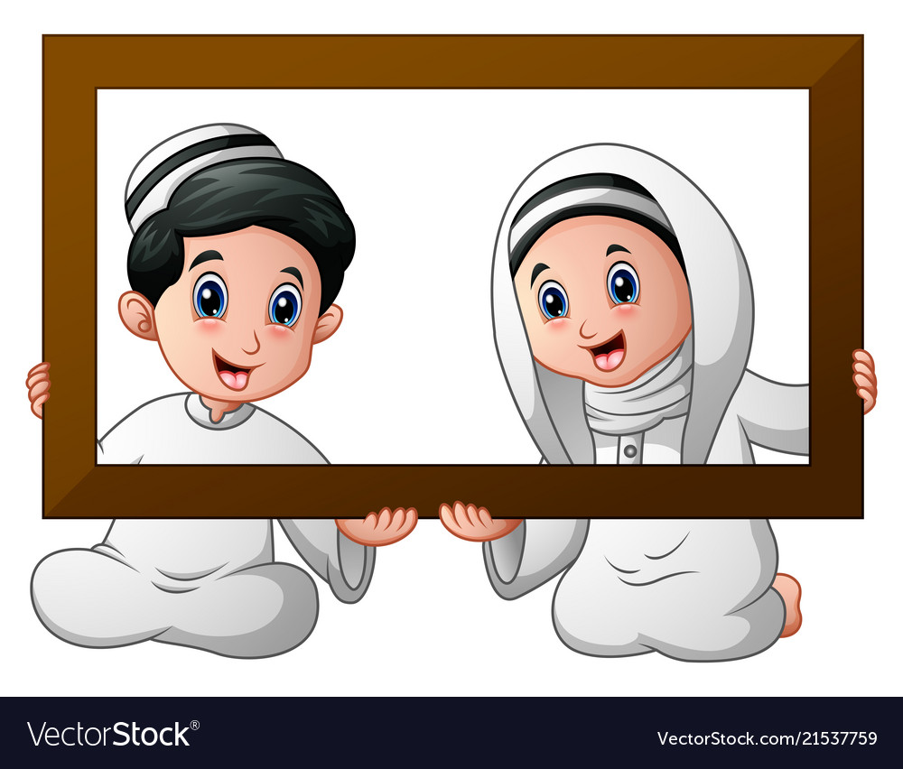 Muslim kid couple holding wood frame and celebrate