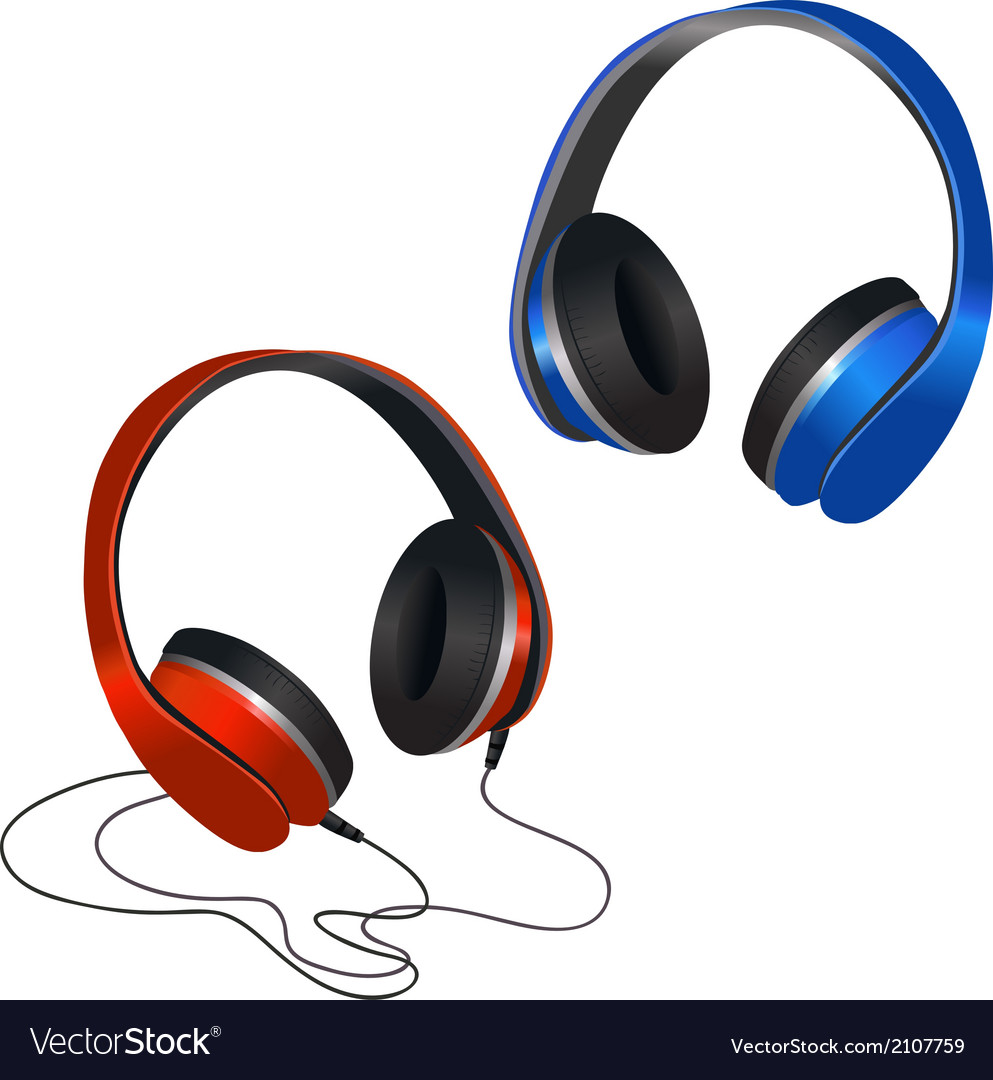 Red and blue headphones