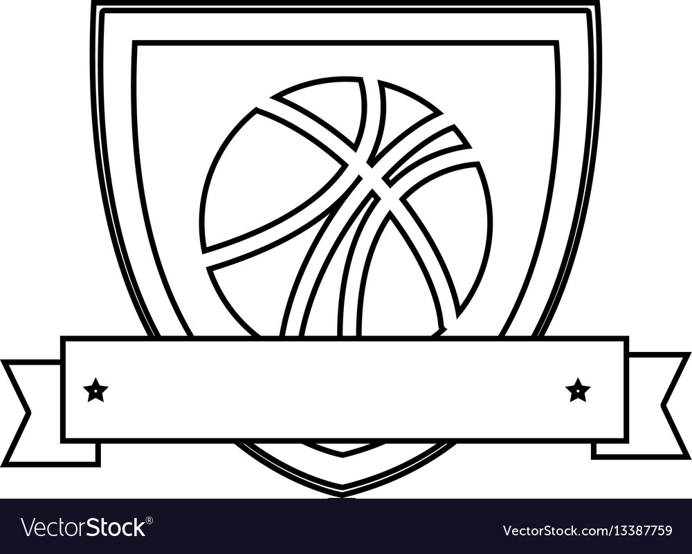Silhouette shield with basketball ball and ribbon