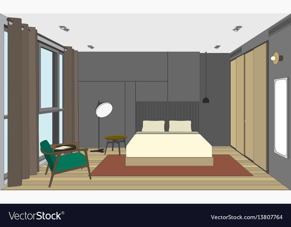 Bedroom perspective view
