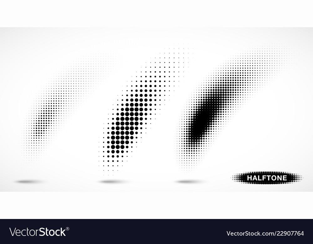 Halftone curved gradient pattern texture set