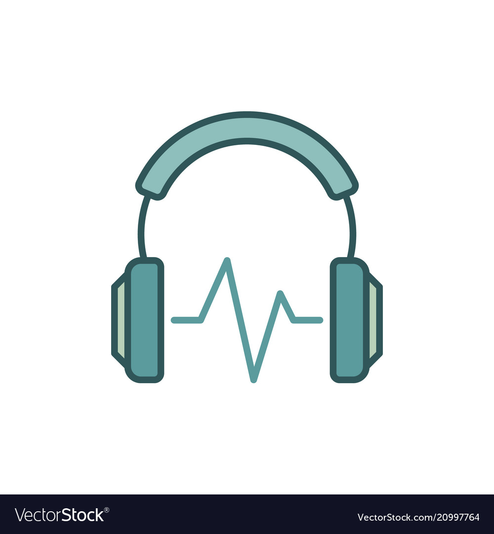 Headphone with sound wave colored icon or
