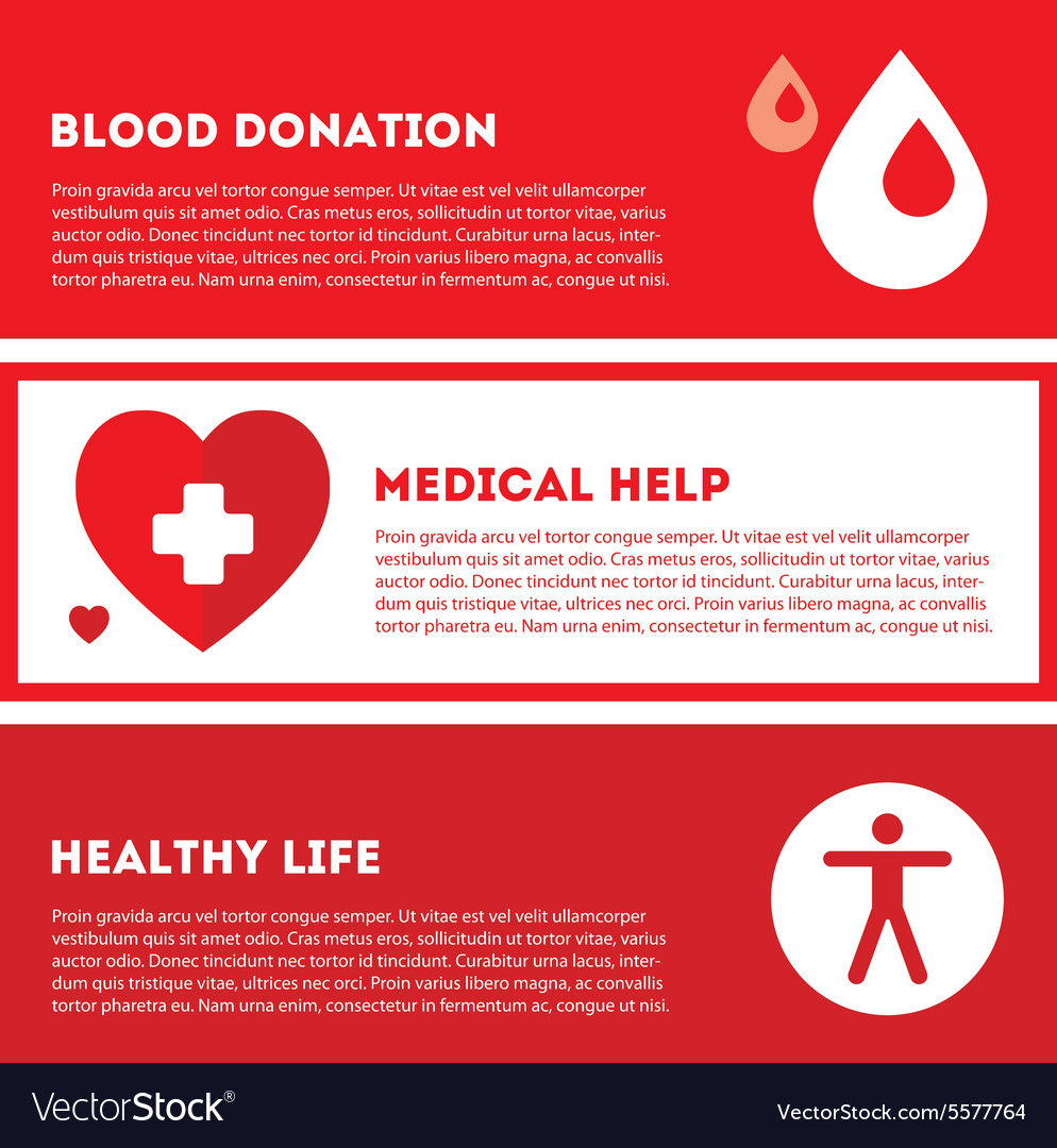 Medical donation Banner set in red colors