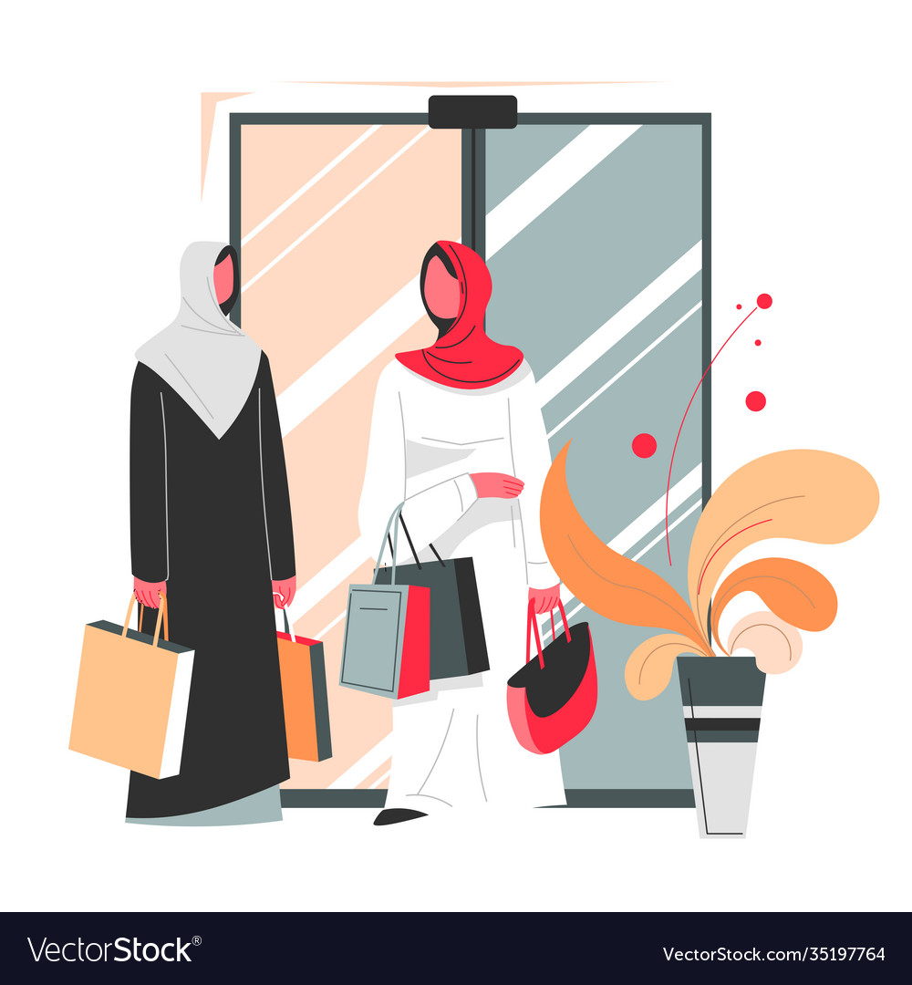 Muslim women with bags shopping in mall