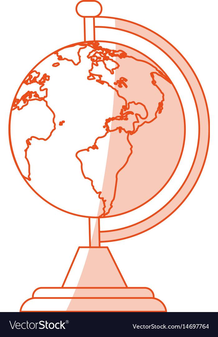 Orange shading silhouette cartoon earth globe with