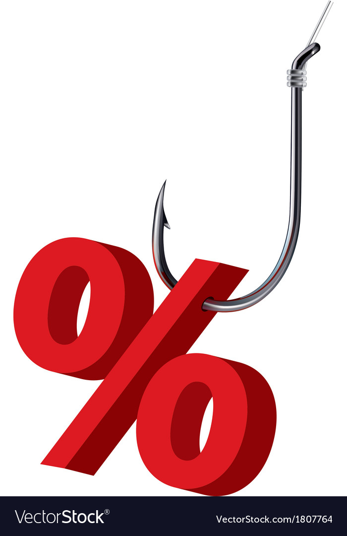 Percent sign on the hook Isolated