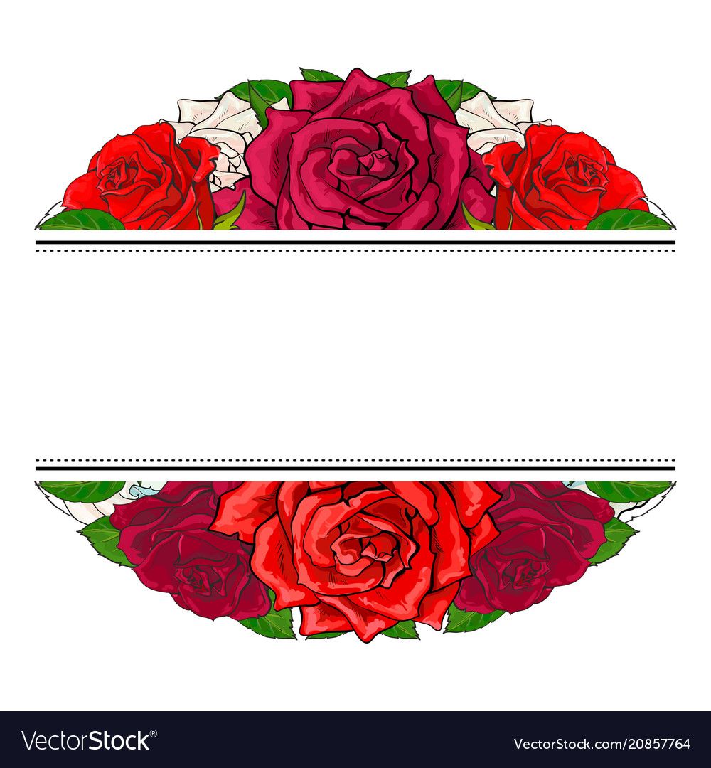 Red roses bouquet in oval shape with line sticker