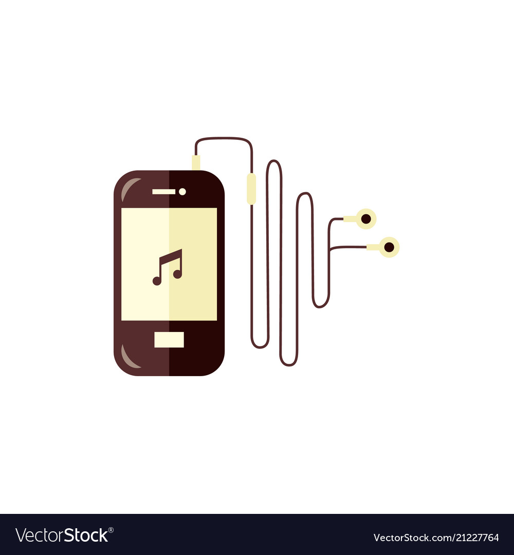 Smartphone with music player app turned on and