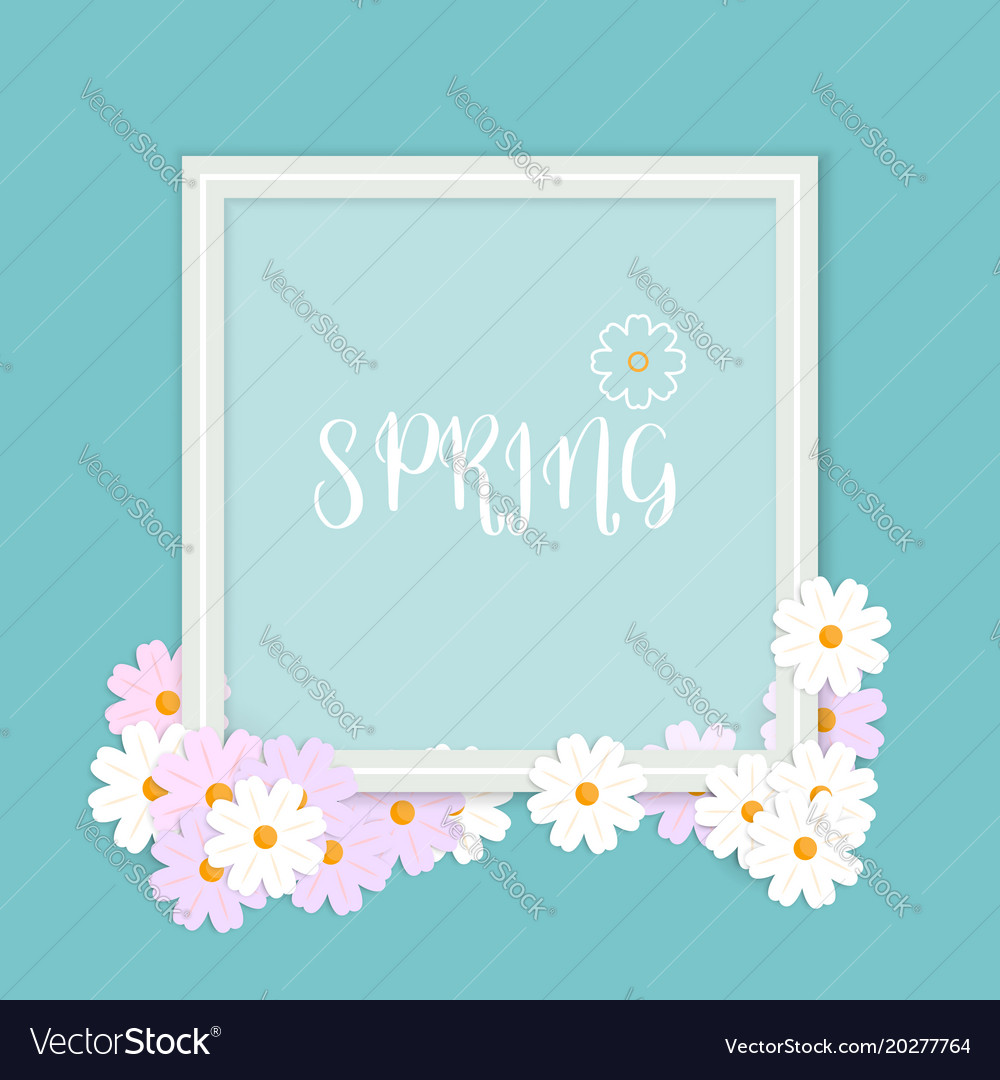 Spring background flowers with border