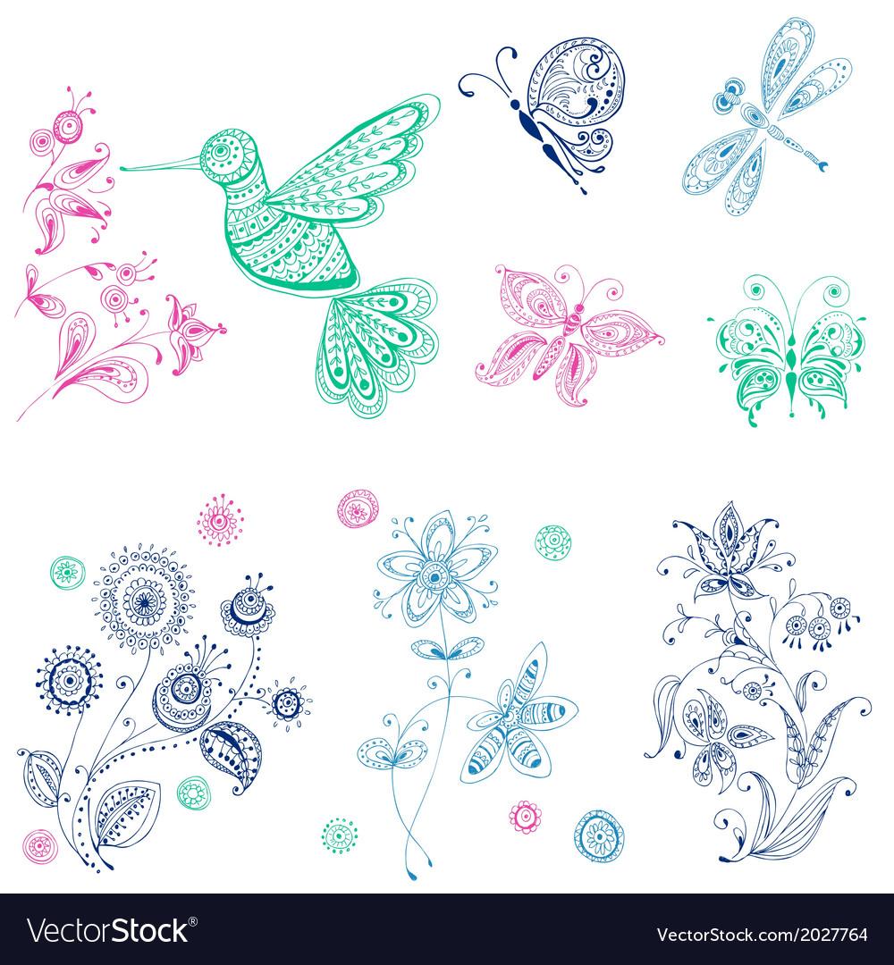 Spring Summer Doodles - bird butterflies flowers