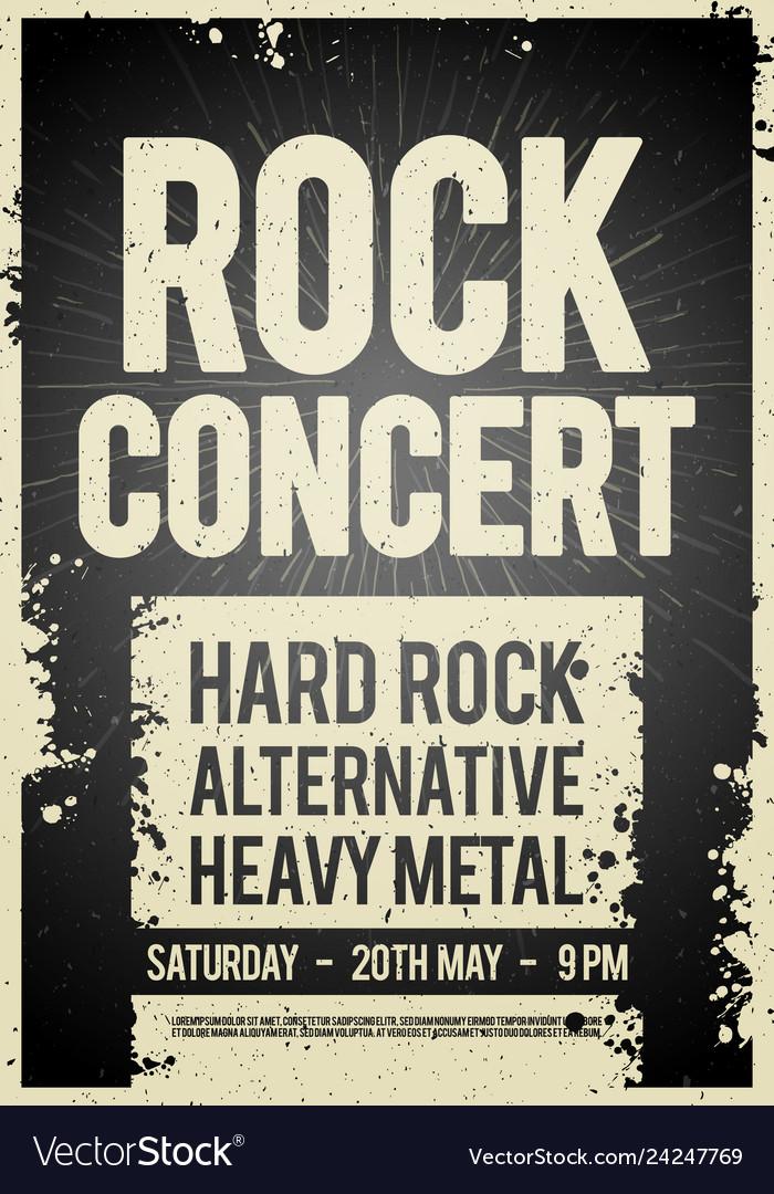 Black rock concert retro poster design
