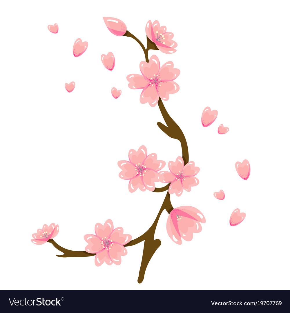 Cartoon Sakura Spring Flower Royalty Free Vector Image