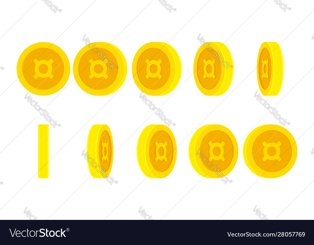 Coin with currency symbol animation sprite sheet