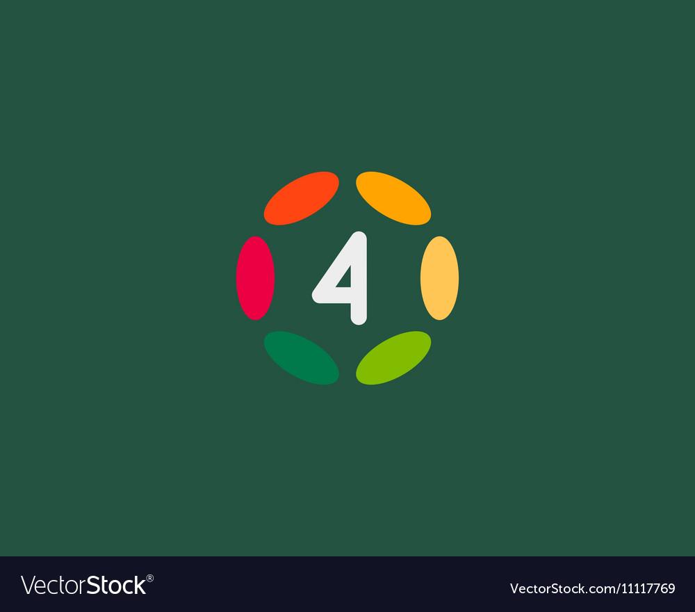 Color number 4 logo icon design Hub frame