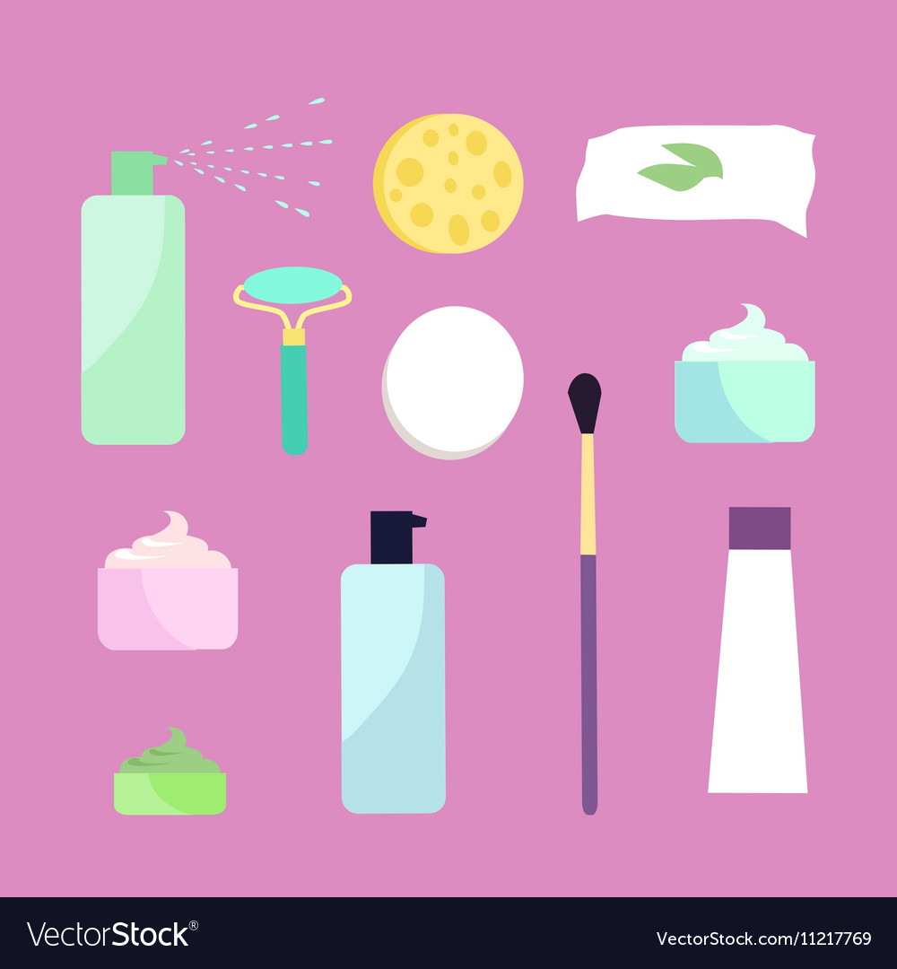 Elements for Girls Face Wash Makeup Tools vector image